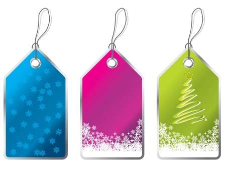 Christmas label set of three with snowflales Stock Vector - 18540752