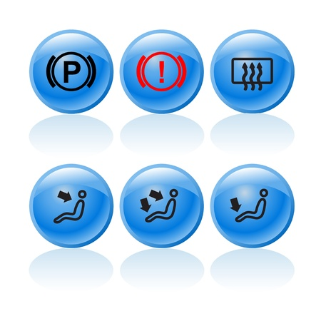Web buttons with incar signs and symbols 1 Stock Vector - 18571252