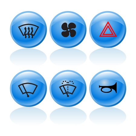 Web buttons with incar signs and symbols 2 Stock Vector - 18571254