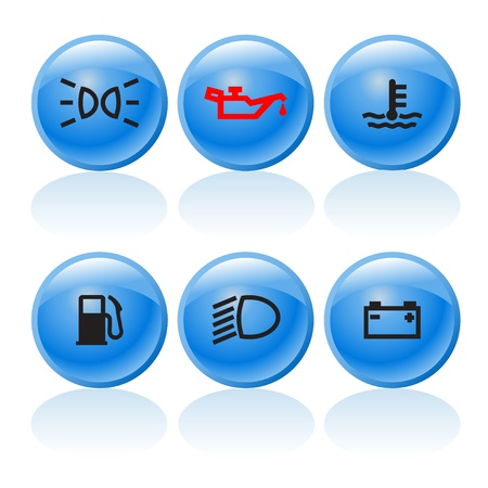 Web buttons with incar signs and symbols 3 Vector