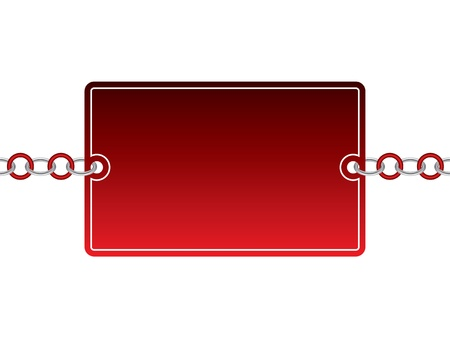 Red card with silver and color chain Vector