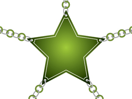 Green star card with silver and color chain Vector