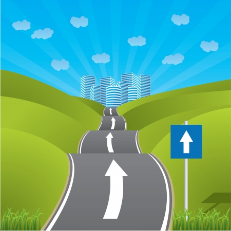 one way: Road heading for city through pastures with one way sign