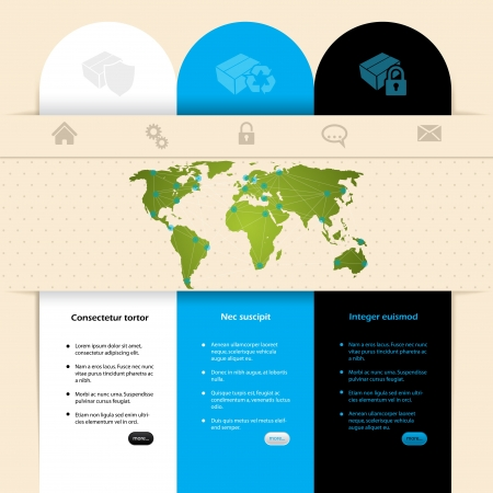 Label design website template with different colors and products Vector