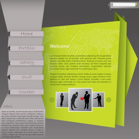 browse: Origami style website template design in green and brown