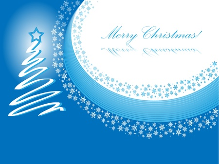 Christmas card design in blue with christmas tree Stock Vector - 18624765