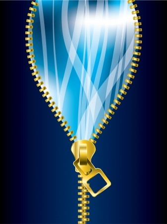unzipping: Unzipping cool blue background with transparent ribbons