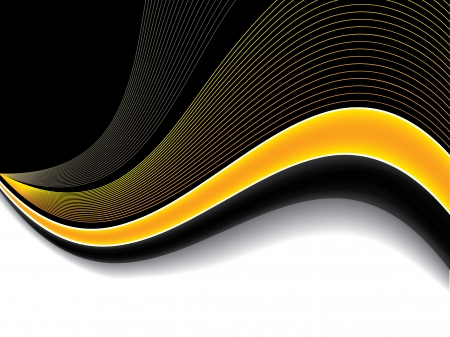 Abstract orange wave background design with shadow Vector