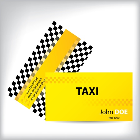 Checkered taxi business card design for taxi companies Vector