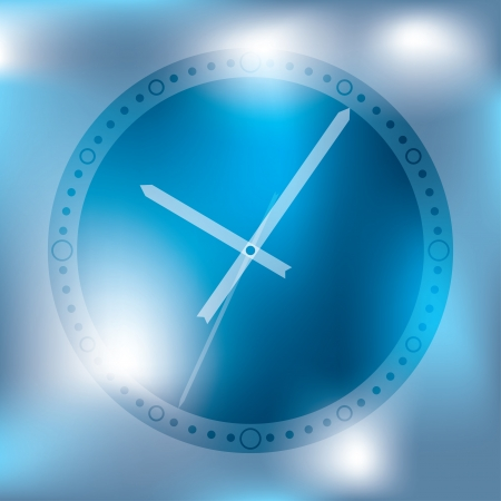 Abstract clock background design in blue and white Vector
