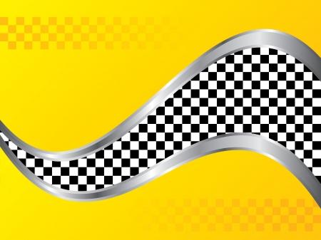 cuadros blanco y negro: Diseño de fondo amarillo con estampado a cuadros y taxis ola metálica