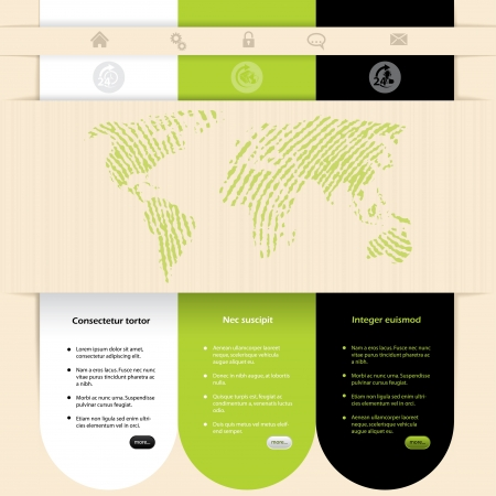 web sites: Website template design with contrast colors and different options Illustration