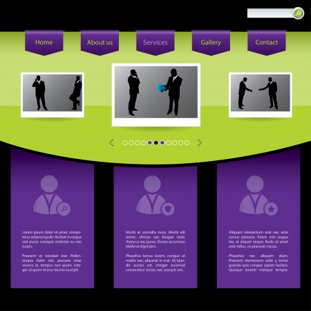 People connections website template design in green and purple Stock Vector - 18853030