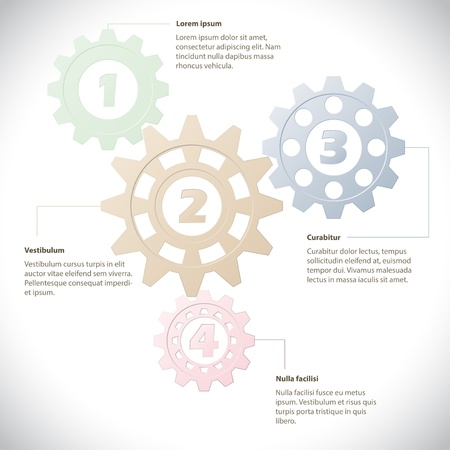 Info graphic design template with cogwheels and text Vector