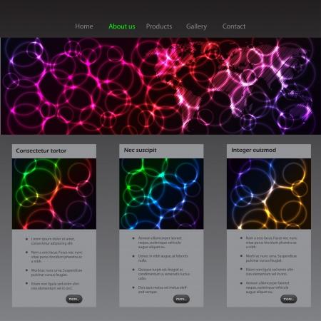 laser tag: Website template design with plasma and laser effect Illustration