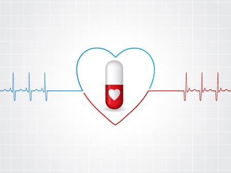 ecg heart: Medical background design with heart pill and ekg