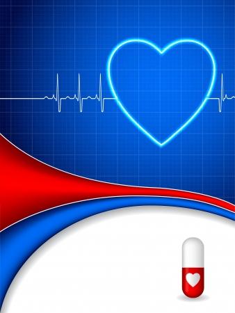 hjärtslag: Medicinsk bakgrund design med ekg och piller Illustration