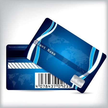 smart card: Loyalty card design front and back on light background Illustration