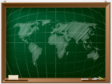 light classroom: World map drawn by hand on chalcboard Illustration