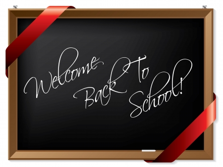 Blackboard with welcome back to school message