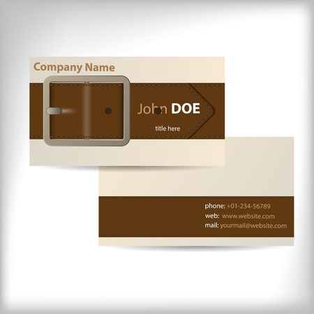 belt buckle: Cool waistband theme business card design with personal data Illustration