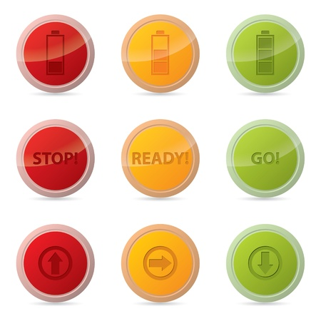 Web button set with various icons and traffic light colors Vector