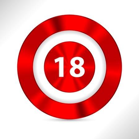 personas mayores: Prohibida menor de 18 años de edad icono con la sombra