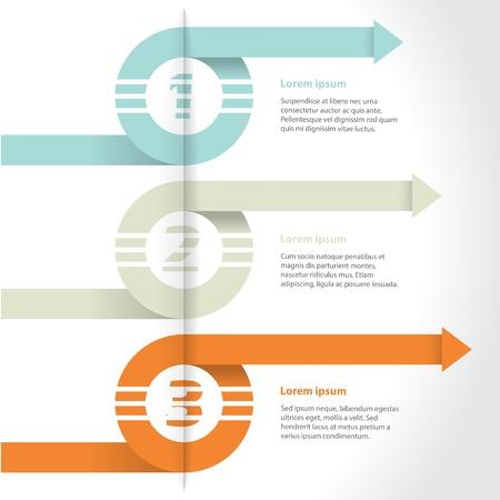 gradation: Curling arrows infographic design set with gradation