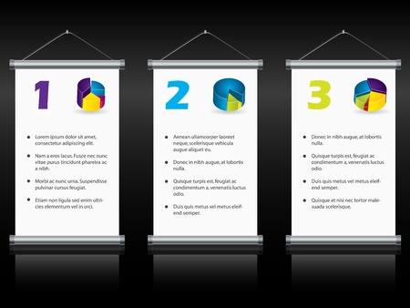gradation: Hanging roll up displays with options and gradation Illustration