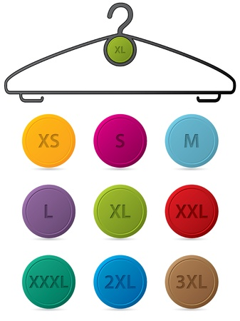 xs: Cloth hanger with changeable buttons showing sizes