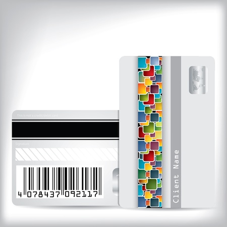 Multicolor dotted loyalty card design front and back Illustration
