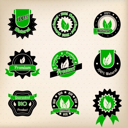 Bio badge design set of nine in green and black Illustration