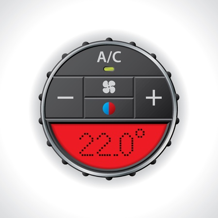 conditioning: Air conditioning gauge with large red display