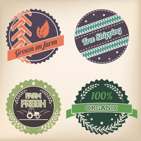 Retro design organic badge set of four Vector