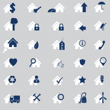 Various house icon set of 30 in two colors Vector