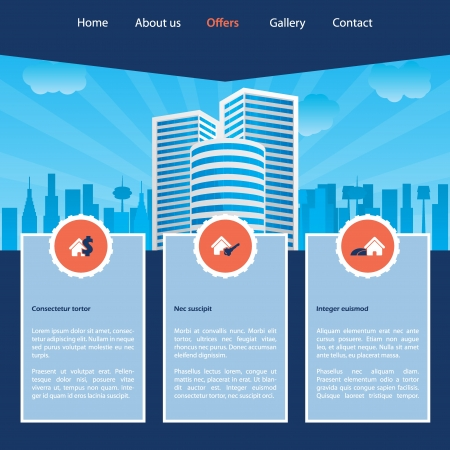Cityscape website template design with various options Vector