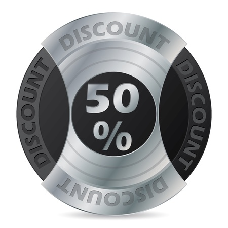 awarding: 50% discount badge design on white background