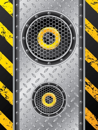 meshed: Underground speaker set design with metallic plate and grunge stripes