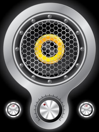 surround: Metallic speaker design with hexagon mesh on black Illustration