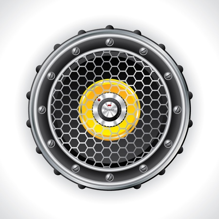 sub woofer: Abstract speaker and volume knob design with power button