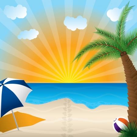 Spiaggia di sabbia con plam albero, palla e ombrello Vettoriali