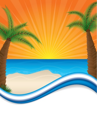Sunny beach brochure design with white space for text Stock Vector - 19796352