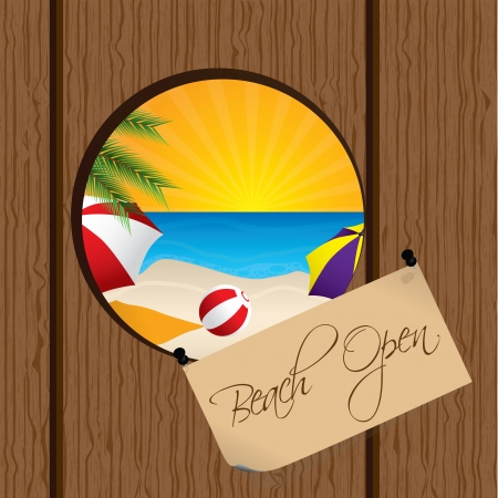 footprints in sand: Beach seen through a hole on the wooden fence Illustration
