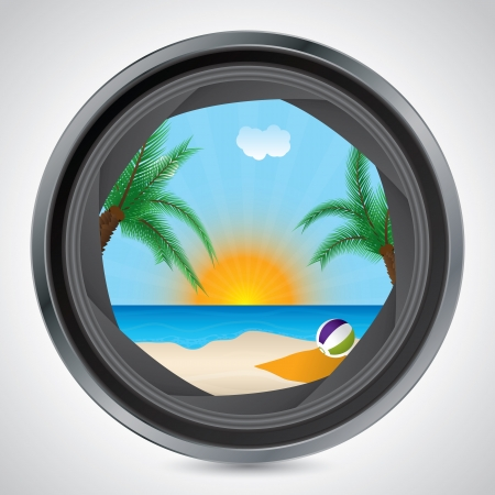 Sunny beach seen through the lens of a camera Stock Vector - 19796343
