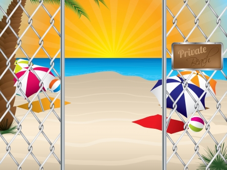 Private sandy beach entrance with wired fence Stock Vector - 19796345