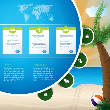 Summer holiday website template design with cool background Vector