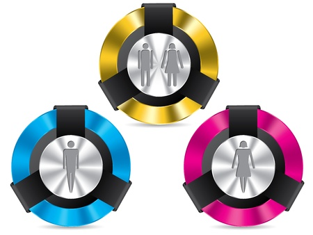 toilette: Toilet signs on metallic glossy button set