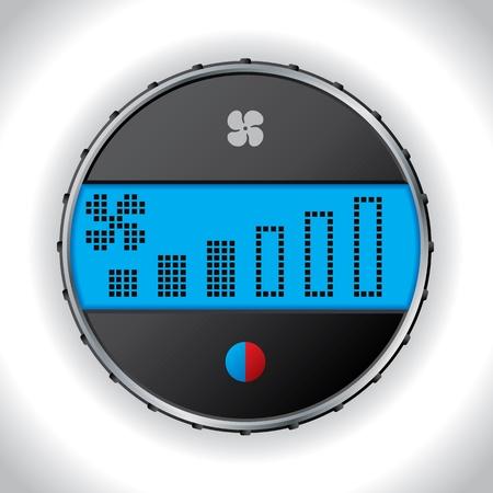 gagant: Car icon climatronic avec r�glage de r�glage du ventilateur Illustration