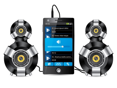 mp3 player: Stereo speaker set with phone playing music