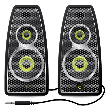 small group of object: Stereo speaker set with metallic mesh design